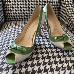 Tod's peep toe high heels size 6.